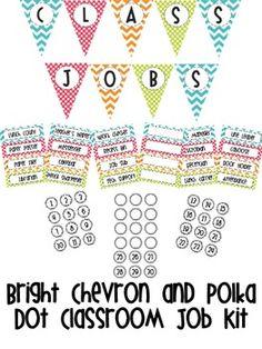 Bright Chevron & Polka Dot Classroom JOb Kit $2.75