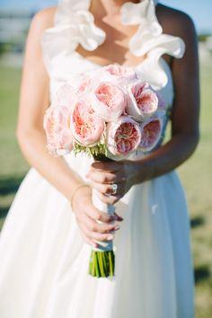Blush garden rose bouquet | Photography: Julia Wade - julia-wade.com   Read More: http://www.stylemepretty.com/destination-weddings/2014/06/04/navy-pink-block-island-wedding/
