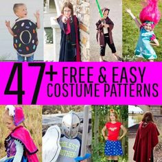 47+ Costume Patterns that are Easy and Free many perfect for beginners.   #costumepattern #costumediyideas #freecostumepattern #sewingproject #harrypottercostumeideas #starwarscostumeideas