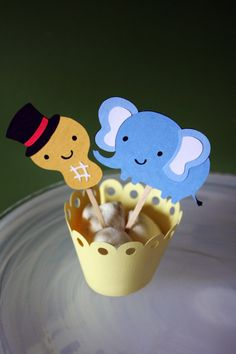 Circus Peanut Elephant Cupcake Toppers