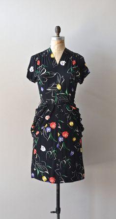 vintage 40s dress / rayon 1940s dress / Tip Top by DearGolden, $154.00