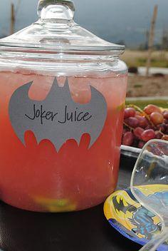 happy birthdays, birthday parties, drink, superhero party, jokers, juices, joker juic, batman party, parti idea