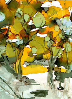Alcohol ink  forest
