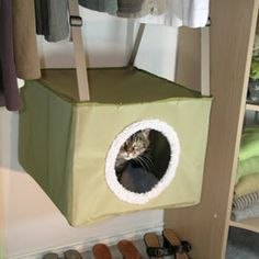 cozy cat bed hangs from the closed rod | my cat would love this! he's loves hiding in my closet.