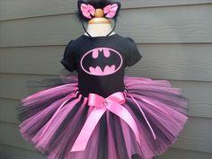 Custom Tutus...PINK BAT GIRL tutu set..size 3,6,9,12,18,24 months and 2T,3T,4T,5T,6T years,costume...birthday tutu, photo prop, batman. $65.00, via Etsy.