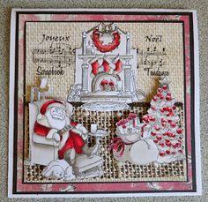 Art Impressions Sleepy Santa Tryfolds trifold  Christmas card with beautiful tree.