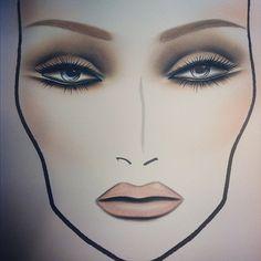 mac face charts, eye makeup, cat eyes, nude lip, mac makeup face charts