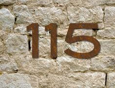 Set of 4 Rustic House Numbers / 3 Inch up to 8 Inch / Letters / Initials / Address / Steel / Metal / Business / Restaurant / Office