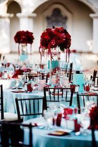 #Tiffany Blue Wedding ... Red rose centerpieces on Tiffany blue table setting #celebstylewed #weddings  www.egovolo.com