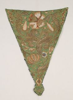 Stomacher, silk embroidered with silk and metal thread, 1725-50, possibly British.