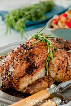 herbed butter and mustard roasted chicken