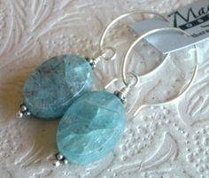 Chunky Kyanite Earrings Sterling Silver by TheresaJ on Etsy, $28.00