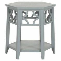 """Perfect for displaying a bouquet of fresh blooms or your latest book club read, this lovely end table showcases a hexagonal silhouette and fretwork details.   Product: End tableConstruction Material: Bayur woodColor: Pearl blueFeatures: Open lower shelfFretwork detailDimensions: 18.1"""" H x 18.1"""" W x 18.1"""" D"""
