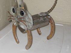 cat metal yard art,sculptures,garden art,found object.recycled art metal, sculpture art,. $35.00, via Etsy.