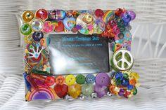 handmade rainbow jewelry mosaic picture frame