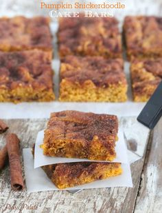 Pumpkin Snickerdoodle Cake Bars, simple and festive bars great for Fall dessert!