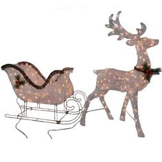 2pc lighted reindeer buck deer santa sleigh ride clear lights. Black Bedroom Furniture Sets. Home Design Ideas