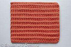 """""""R-R-R-Ridges""""  Week #4 free crochet afghan block pattern."""