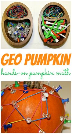 Hands-On Pumpkin Math with The Geo Pumpkin from www.fun-a-day.com.  A fall twist to the classic geoboard.  Hours and hours of fun for preschoolers.  Wonderful way to practice fine and gross motor skills, explore math concepts, and just have fun!