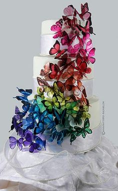 Butterfly cascade...Butterflies, rainbows, and cake.  All things that make me smile.  I love this.
