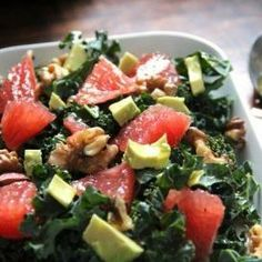 Kale Salad with Grapefruit, Avocado & Walnuts