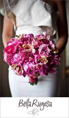 Romantic pink bridal bouquet by Bella Rugosa, photo by Dan DeLong of Red Box Pictures | junebugweddings.com