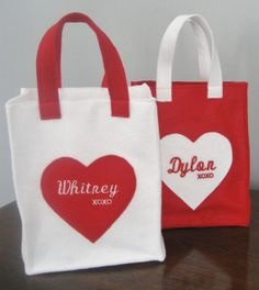 Personalized Valentines Felt Gift Bag Tote by LovingLifeTimes2, $12.50