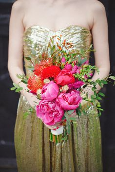 #peony #bouquet #gold #glitter  Photography: Clean Plate Pictures - cleanplatepictures.com  View entire slideshow: Peony Bouquets on http://www.stylemepretty.com/collection/572/