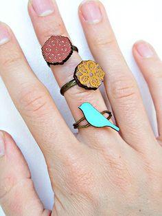 happy day rings, set of 3 $17 @Gena Cook #bird #flower #filigree #lace #wood #orange #seafoam