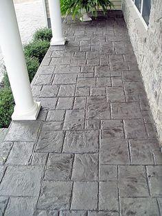 Stamped concrete side porch