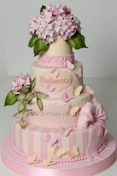 Christening cake with pink hydrangeas