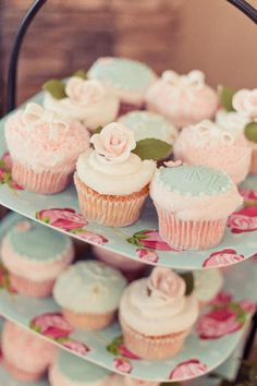 Tiffany and vintage rose cupcakes