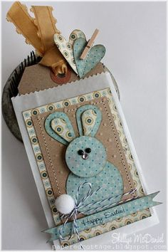 handmade tag ... punch art bunny in blue and kraft patterned papers ... great for card topper, gift tag, placecard .... like the country feel/look ...