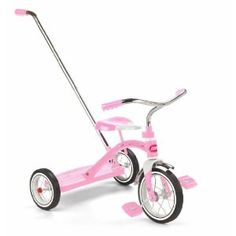 Radio Flyer Girls Classic Pink Tricycle with Push Handle