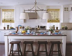 white cabinets, wood floors, quartz counter tops #kitchen