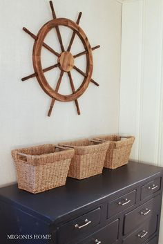 Navy Nautical Dresser with Ship Wheel for Wall.
