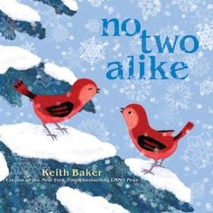 Summary: This book follows two birds as they explore the world of uniqueness. They find that no two things are alike almost but many things in the world are similar but has its own distinct differences. Genre: Juvenile Fiction Writing Techniques: simple sentence, punctuation, rhyming, antonyms, compare/contrast Writing Traits: Word Choice would help with this book because of how the author portrays all the birds. Baker, Keith. No two alike. New York: Beach Lane Books, 2011.