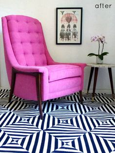 DIY painted rug love it and pink chair