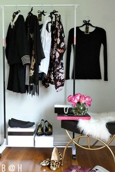 DIY Clothing Rack with Embellished Day of the Week Hangers for the fashionista