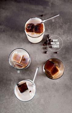 mint mocha shake with coffee ice cubes