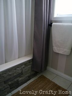 Use airstone to dress up a guest bathroom (or, our entire back wall in the living room, one or the other).  I need this stuff, it's super simple, looks like real stone and is reasonably priced!