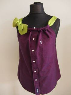 Made from YOUR SHIRT - Refashioned Boyfriend Tank Top Shirt Blouse with Necktie Shoulder Strap - Womens Upcycled Clothing - Made to Order. $28.00, via Etsy.