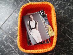Big Orange Crochet Basket Large Crochet Storage by LoopingHome