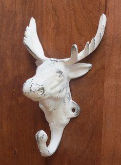 Antique White Moose Hook/Cast Iron Hook/Cabin Decor/Rustic Wall Decor/Metal Wall Hook/Lodge Wall Decor.