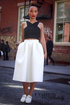 skirt, street style, shoe, crop top