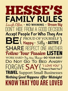 """Custom Designed Family Rules 18"""" x 24"""" Wrapped Canvas - #familyrules #customcanvas #wordstoliveby #signsbyandrea"""