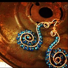 Copper wire with blue seed beads earrings