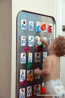 Oil drip pan from walmart + magnetic letters + alphabet pictures = toddler alphabet learning tool