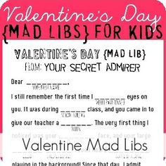 My Sister's Suitcase: Valentine's Day Mad Libs
