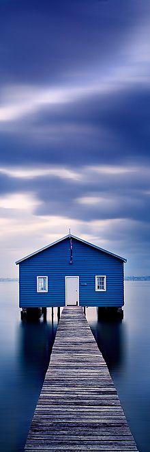 matilda bay, blue boat, bay boat, photography river, blue skies